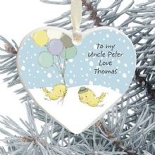 Uncle Ceramic Heart Christmas Tree Decoration - Birds and Balloons Design